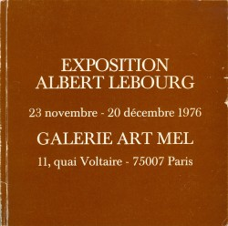 catalogue exposition Albert LEBOURG